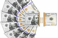 Realistic Double Sided Prop Money - Set of 100 100 Dollar Bills 10,000 with Or