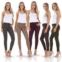 Ladies Slim Fit Jeggings Stretch Plain Skinny Denim Plus Size Coloured Jeans
