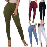 Women's Skinny Pencil Long Pants High Waist Stretch Slim Fit Jegging Trousers