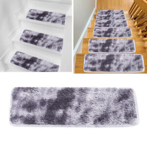 13X Staircase Stair Treads Fluffy Carpet Step Mat Non Slip Protection Cover Pad