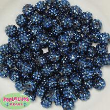 12mm Navy Blue Resin Rhinestone Bubblegum Beads Lot 40 pc.chunky gumball