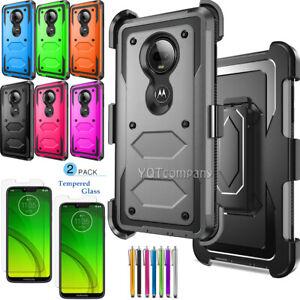 For Motorola Moto G7 Power/Supra Case With Kickstand Belt Clip/Screen Protector