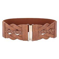 Vintage Leather Elastic Waist Belt Fashion Wide Belts for Women Brown, L