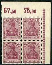 DR Mi.-Nr. 148 II P OR im Eckrand-Viererblock postfrisch, geprüft.