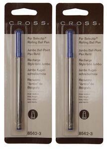 2 - CROSS Genuine Rollerball Selectip Jumbo Ballpoint Pen Refills - Blue Medium