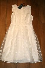 NEW&TAGS M&S spotted lace dress SIZE 8 net vintage wedding 50's party prom swing