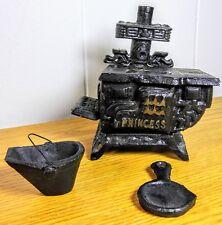 VTG Miniature Cast Iron Princess Stove Doll House Salesman Sample Accessories