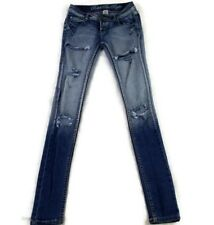 Rebel By Right Women Distressed Blue Jeans Slim Skinny Stretch Size 3