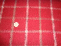 FQ 50-45cm ISLES LEWIS WOOL TOUCH TARTAN Red Grey Taupe Check FABRIC