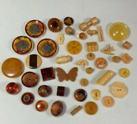 40+ Vintage Bakelite Buttons Root Beer Butterscotch Realistics 2 Tone Carved