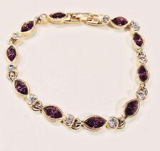 VINTAGE JEWELRY 1970s Teardrop Amethyst Crystal White Rhinestone Tennis Bracelet