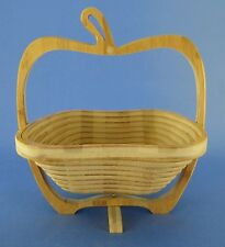Collapsible Bamboo Fruit Basket Spiral Cut Apple Shaped Centerpiece Bowl