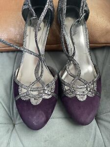 Monsoon Purple Suede And Silver T Bar Evening Shoes Size 6
