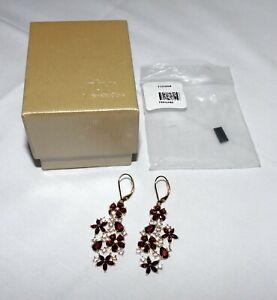 JTV Vermelho Garnet & White Zircon Sterling Floral Dangle Earrings NEW FCH068