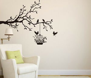 Tree Wall Sticker Branch with Birds & Cage Wall Art Decal Vinyl DIY Home Decor