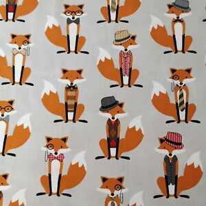 Fox and the Houndstooth grey orange hat tie bow moustache fabric by RK