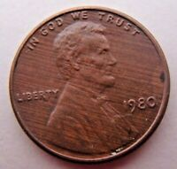 RARE Wood Grain Finish Toned Obverse 1980 Lincoln US Cent Coin Penny Mint Error