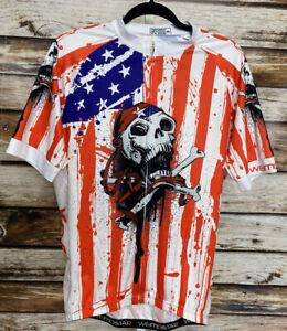 Weimostar Mens Cycling Jersey Bike Jersey Size 2XL USA Skull Crossbones
