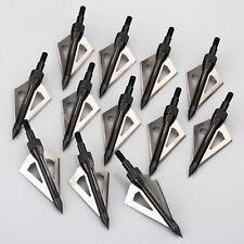 12pcs Black Broadheads 100Grain Arrow Heads Fixed 3 Blade For Hunting Arrows