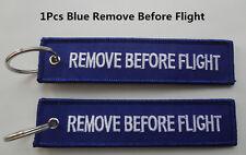 1Pcs Blue Remove Before Flight Tag Zipper Pull Keyring Embroidery Keychain MGSU