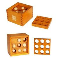 Puzzle Boxes 9 Hole Ball Blocks Wooden Brain Teaser Game Educational Toy W