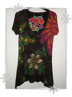 Robe Tunique Asymétrique Noire Imprimée Broderie  Fantaisie Desigual  Taille S