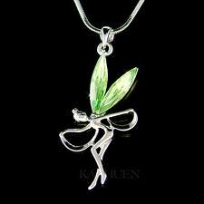 w Swarovski Crystal ~Green Fairy Tinkerbell Tinker ANGEL Dancer Necklace Jewelry