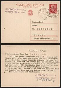 Italy 1938 - Postal Stationery Ladinia to Bremen Germany C551