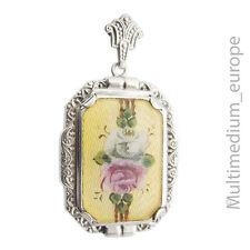 Art Deco Silber Anhänger Emaille Rose Blume silver cloisonne enamel pendant