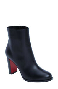 CHRISTIAN LOUBOUTIN Adox Leather Block-Heel Red Sole Ankle Boots booties Navy 42