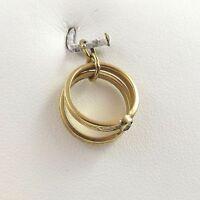 14K Gold Bridal Crystal Engagement Wedding Band Rings Charm Pendant 1.5gr