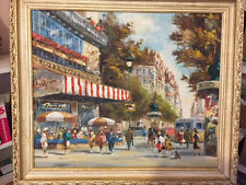 Paris street scene painting by Henry Housier,  early 1950's
