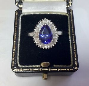 AAAA Pear Cut Tanzanite & Baguette Cut Diamonds Nearly 3 Cts PLATINUM Ring & COA