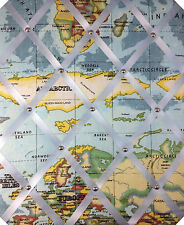 World Map Print Fabric, MEMO MESSAGE PINBOARD LARGE OFFICE NOTICE BOARDS