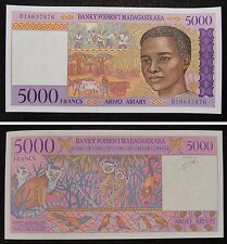 Madagascar 5000 Ariary 1995 P78a Prefix A UNC