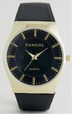 Kangol Gents Analogue Goldtone Dial Black Strap Watch KAN 985289 RRP £50.00#D