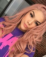 White Women's Long Wavy Pink Lace Front Wigs Pink Synthetic Hair Full Wigs 22""
