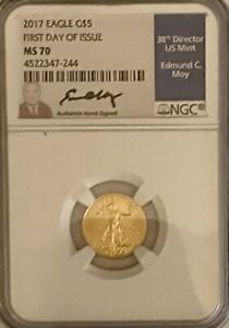 2017 $5 Gold Eagle NGC MS70 EDMUND MOY  First Day Of Issue. FREE SHIPPING
