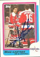 1986-87 Topps Hockey Signed Auto Mike Gartner Washington Capitals Card #59 HOF