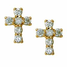 Small Cross Shape 18ct Gold Filled Stud Earrings 18K Womens Girls White CZ BE902