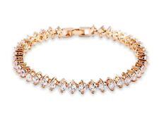 Yellow gold finish created diamonds round cut tennis bracelet beautiful gift