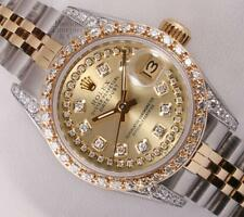 Rolex Lady Datejust 18k Steel-Champagne String Diamond Dial-Diamond Bezel & Lug