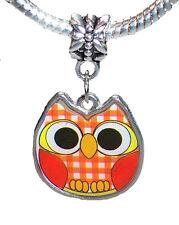 Owl Orange Plaid Pattern Bird Lucite Dangle Charm for European Slide Bracelets