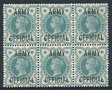 1896-1901 GB ½d BLUE-GREEN ARMY OFFICIAL BLOCK OF 6 FINE MINT MNH SGO42