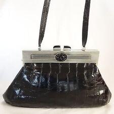 Reptile Embossed Black Leather Magnetic Pewter Frame Handbag