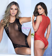 Sexy Women Lingerie Transparent Sheer Mesh Teddy Bodysuit Underwear Sleepwear