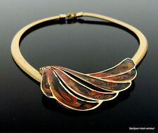 Abstrakte,elegante Swirl emaillierte Retro 70s Halskette Collier,enamel necklace