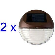 Solar Powered Round Mini LED Deck Light / Step Light, Bronze Finish, 2-Pack
