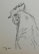 JOSE TRUJILLO Original Charcoal - Paper Sketch Drawing 9X12 Chicken Rooster Farm