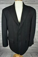 Haggar Collection Charcoal Gray Glen Plaid Blazer Jacket 3 Button Mens Size 42S